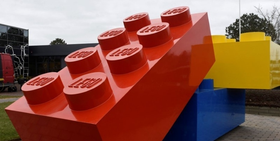 Giant Lego bricks are displayed at the headquarters of the Danish toy company during the annual news conference in Billund, Denmark March 1, 2016. Picture taken March 1, 2016. REUTERS/Fabian Bimmer/File Photo
