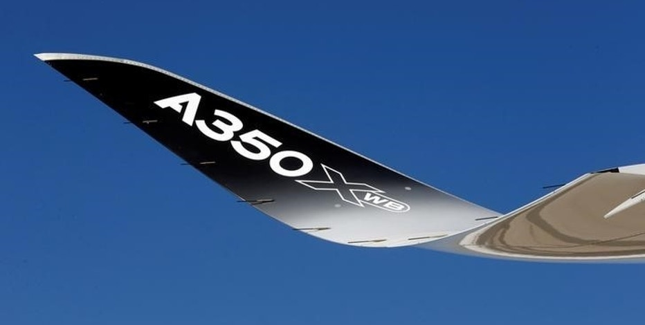 A winglet of the Airbus A350 XWB flight-test aircraft is pictured during a media day event at Guarulhos airport in Sao Paulo August 7, 2014.  EUTERS/Paulo Whitaker/File Photo