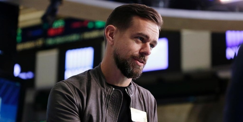 FILE - In this Thursday, Nov. 19, 2015, file photo, Twitter CEO Jack Dorsey is interviewed on the floor of the New York Stock Exchange. Dorsey said Nov. 22, 2016, that the social media platform accidentally suspended his own account. (AP Photo/Richard Drew, File)