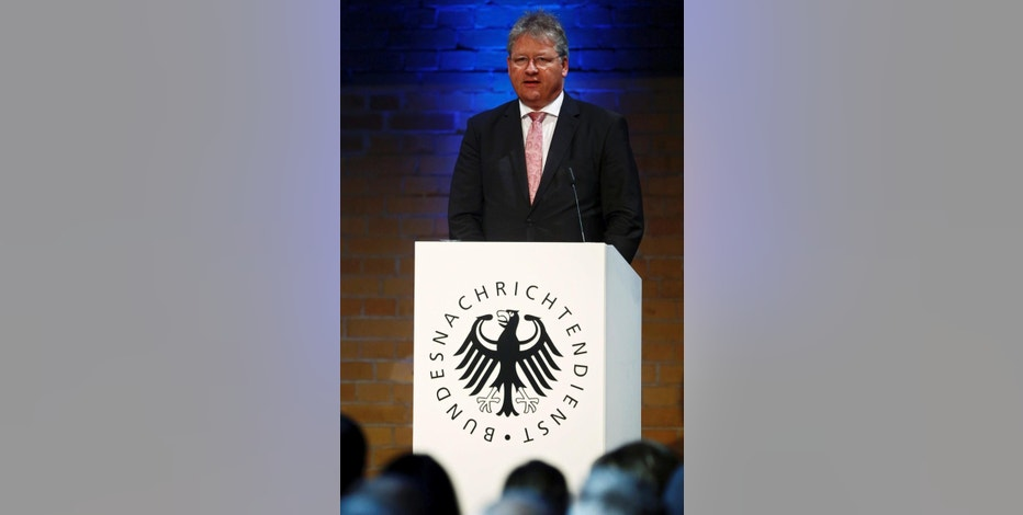 The President of the German Federal Intelligence Agency (BND) Bruno Kahl delivers a speech during  a ceremony marking  the 60th anniversary of the founding of the BND in Berlin, Germany, Monday Nov. 28, 2016. (Hannibal Hanschke/Pool Photo via AP)