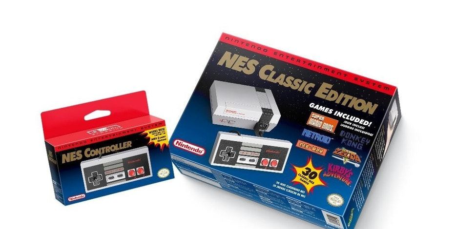 FILE - This file image provided by Nintendo shows the Nintendo Entertainment System Classic Edition. The NES Classic Edition includes all your childhood favorites, assuming you came of age in the late 1980s or 1990s. Searching for the season's hot holiday toys doesn't have to end in disappointment. With the help of technology, some phone calls and shoe leather, hard-to-find holiday toys such as Hatchimals and NES Classic don't have to remain elusive. (Nintendo via AP, File)