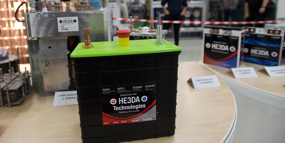 A new battery based on nanotechnology is on display during the  official start of a battery production line in Prague, on Monday, Dec. 19, 2016. The new battery developed by the HE3DA company is supposed to be be more efficient, long-lasting, cheaper, lighter and above all safer. It is designed to store energy from renewable electric sources and cooperate with smart grids. Next planned type will be suitable for electric cars. (Michal Kamaryt /CTK via AP)