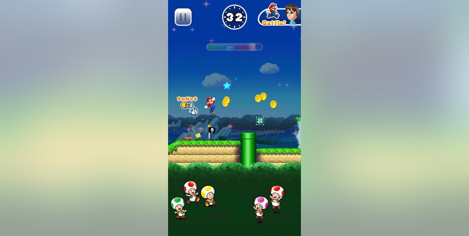 "This image provided by Nintendo shows a screenshot from the game ""Super Mario Run,"" which the gaming giant released for the iPhone on Dec. 15, 2016. Nintendo has done a good job translating Mario's classic, side-scrolling world to a mobile screen, but the game's $10 price tag, as well as a requirement for players to be constantly connected to the internet while playing, could turn off all but the most hardcore fans. (Nintendo via AP)"