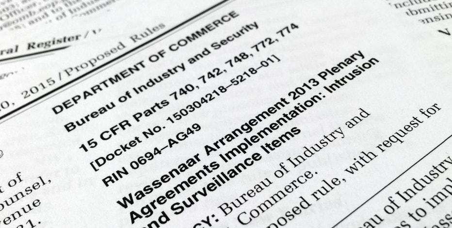 FILE - This file photo taken Dec. 22, 2015, shows a portion of a page from the Federal Register in Washington.   The Obama administration has failed to renegotiate portions of an international arms control arrangement so that it's simpler to export tools related to hacking and surveillance software.  (AP Photo/Jon Elswick)