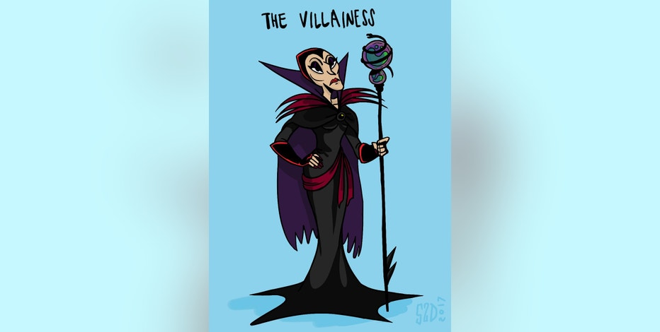 "This sketch by Stephanie Delazeri, an animation student at California Institute of the Arts in Santa Clarita, Calif., shows ""The Villainess,"" an archetypal female character. More women are entering the field of animation, and one of their goals is to create more realistic female characters. Cal Arts instructor Erica Larsen-Dockray, who teaches a class on ""The Animated Woman,"" said of The Villainess: While male villains can be any shape or size, female villains almost always are old and unmarried. They have gray hair, wrinkles and harsh makeup. They're hardened and sour and always look stern and angry. Visually, they're typically depicted looking almost bony with sharp lines, including high cheekbones and pointy elbows. (Stephanie Delazeri/California Institute of the Arts via AP)"