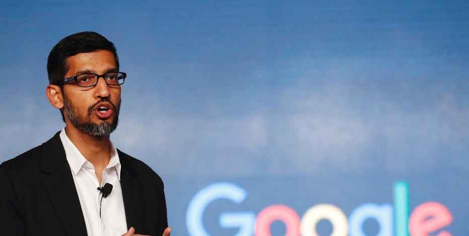 FILE - In this Wednesday, Jan. 4, 2017, file photo, Google CEO Sundar Pichai speaks during a news conference on Google's collaboration with small scale local businesses in New Delhi. U.S. tech companies fear the Trump administration will target a visa program they cherish for bringing in engineers and other specialized workers from other countries. Although these visas, known as H-1B, aren't supposed to displace American workers, critics say safeguards are weak. This comes amid a temporary ban on nationals of seven Muslim-majority countries from entering the U.S., including those who are employed by Google and other tech companies but were out of the country when the surprise order was issued Friday, Jan. 27. (AP Photo/Tsering Topgyal, File)