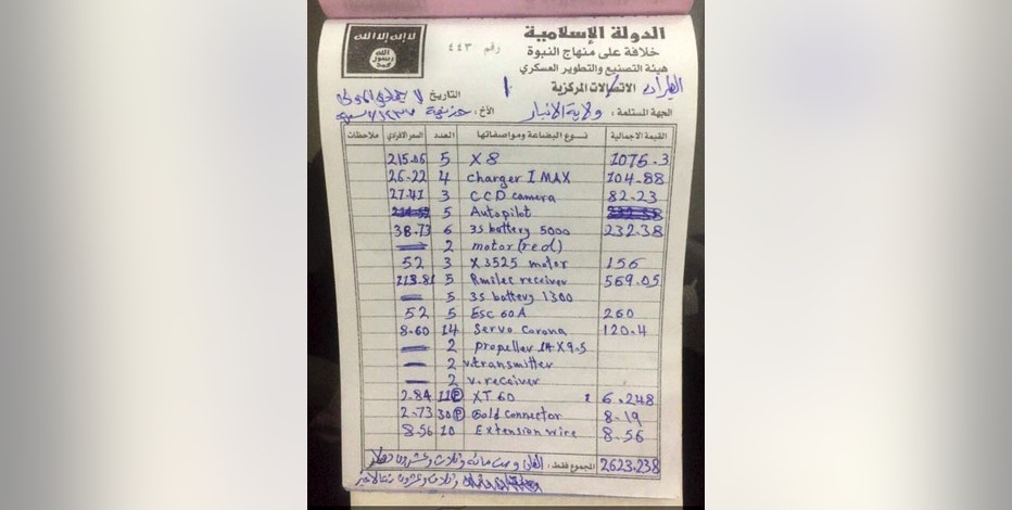In this Tuesday, Jan. 31, 2017 photo, a receipt found in a drones workshop belonging to Islamic State militants. Islamic State is hacking store-bought drone technology, using rigorous testing and tactics that mimic those used by U.S. unmanned aircraft to adapt to diminishing numbers of fighters and a battlefield that is increasingly difficult to navigate on the ground.  (AP Photo/ Khalid Mohammed)