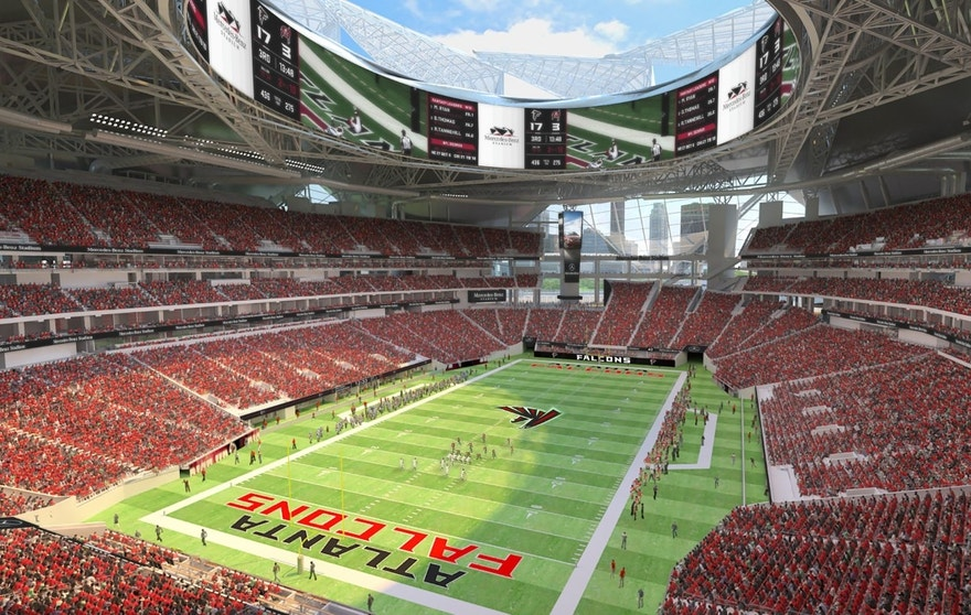 Why the atlanta falcons are going green in 2017 fox for Mercedes benz stadium location
