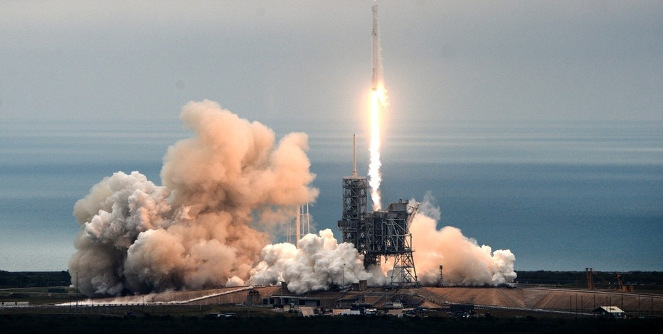 The SpaceX Falcon rocket launches from the Kennedy Space Center in Florida on Sunday, Feb. 19, 2017, carrying a load of supplies for the International Space Station. (Craig Bailey/Florida Today via AP)
