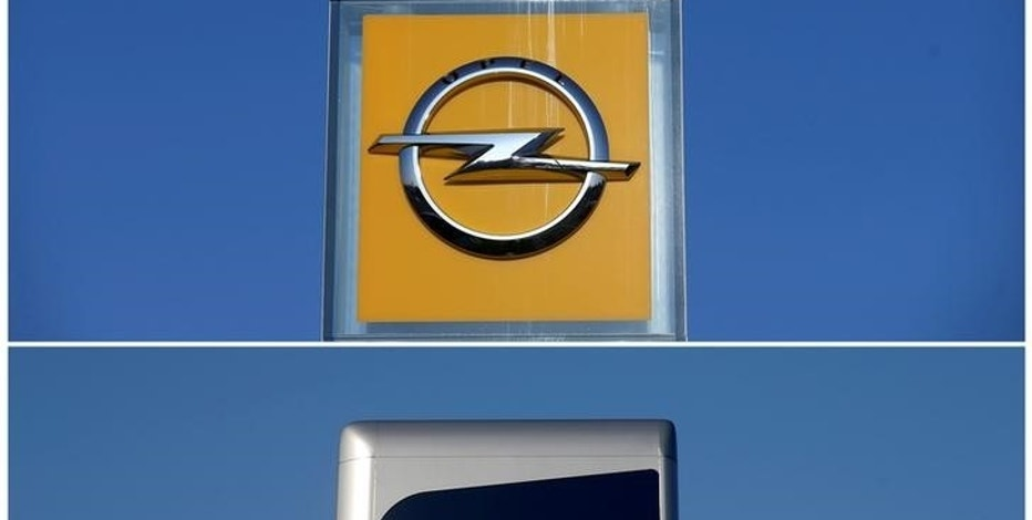 A combination picture shows the logos of Opel and Peugeot car manufacturers at dealerships of the brands in Strasbourg, France, February 14, 2017. REUTERS/Vincent Kessler/File Photo