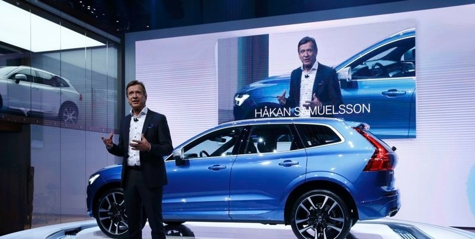 Vovlo CEO Hakan Samuelsson speaks during presentation of the new Volvo XC60 car during the 87th International Motor Show at Palexpo in Geneva, Switzerland, March 7, 2017. REUTERS/Denis Balibouse