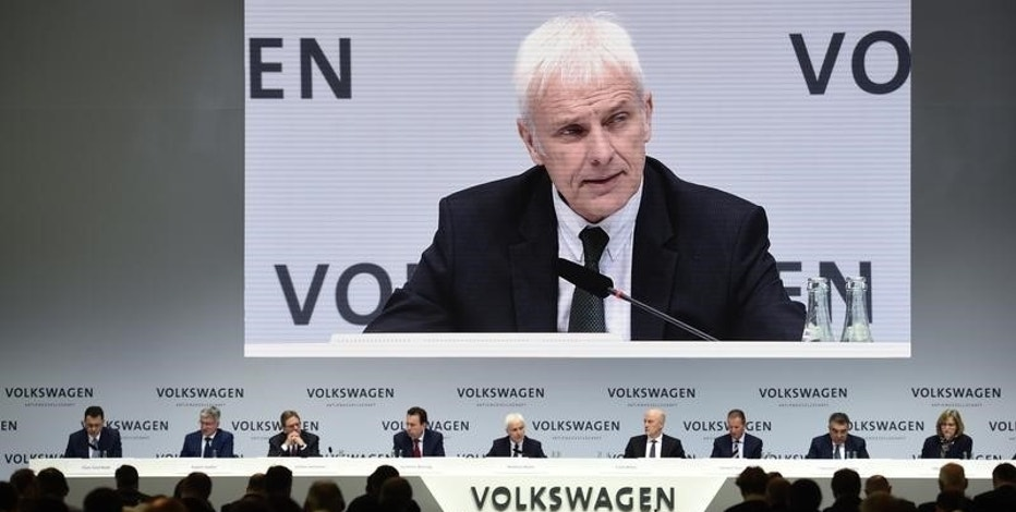 German carmaker Volkswagen CEO Matthias Mueller addresses the company's annual news conference in Wolfsburg, Germany, March 14, 2017. REUTERS/Fabian Bimmer