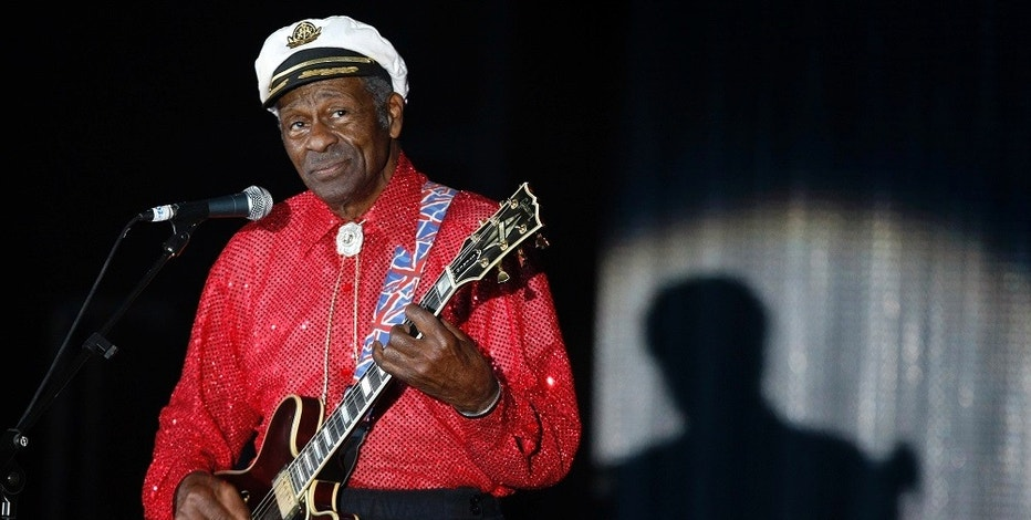 Rock and roll legend Chuck Berry performs during the Bal de la Rose in Monte Carlo, Monaco on March 28, 2009.    REUTERS/Eric Gaillard/File Photo - RTX2PC39