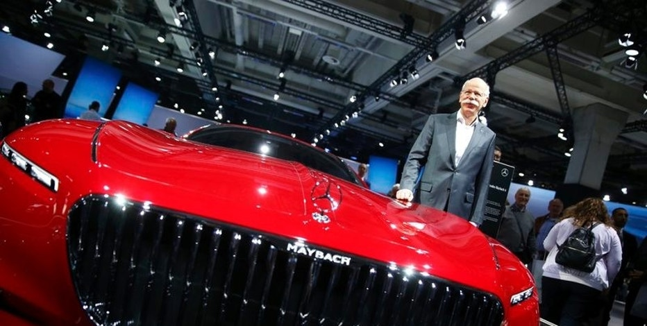 Daimler CEO Dieter Zetsche poses near the Mercedes Maybach 6 car before the Daimler annual shareholder meeting in Berlin, Germany, March 29, 2017. REUTERS/Hannibal Hanschke
