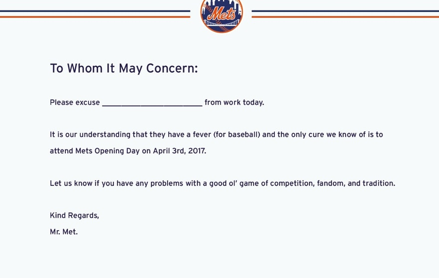 Mets Excuse Note