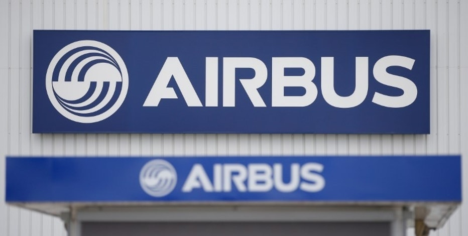 The logo of Airbus is pictured at the entrance of the Airbus facility in Bouguenais, near Nantes, France March 20, 2017. REUTERS/Stephane Mahe