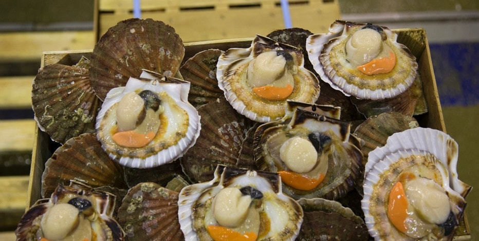 Scallops are seen at the fish pavillion at Rungis International food market as buyers prepare for the holiday season in Rungis, south of Paris, December 11, 2014. The holidays are a busy time at Rungis, the largest fresh food market the world, where wholesalers selling everything from oysters and salmon to gruyere, green beans and sides of beef is abuzz the week before Christmas. Located 7 kilometres south of Paris, Rungis is spread over 234 hectares and employs some 12,000 workers. Rungis had sales of 9 billion euros ($11.22 billion) in 2013, up 3.8 percent from 2012. Picture taken December 11, 2014.    REUTERS/Philippe Wojazer (FRANCE - Tags: FOOD BUSINESS) - RTR4I1KB