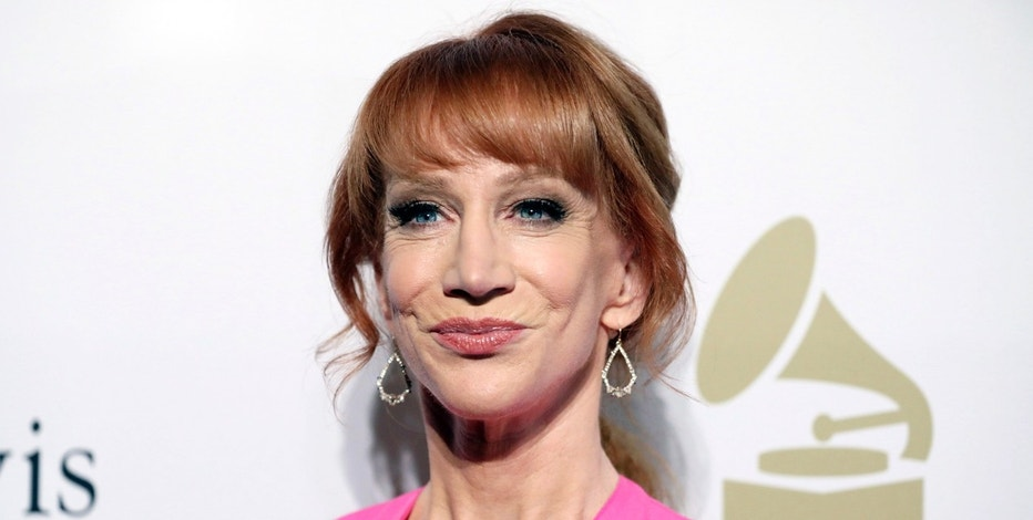 "FILE - In this Feb. 11, 2017 file photo, comedian Kathy Griffin attends the Clive Davis and The Recording Academy Pre-Grammy Gala in Beverly Hills, Calif. Griffin says she knew her new photo shoot with photographer Tyler Shields would ""make noise."" She appears in a photo posted online Tuesday, May 30, 2017, holding what looks like President Donald Trump's bloody, severed head. Many on Twitter called for the comedian to be jailed. Griffin told photographer Shields in a video on his Twitter page Tuesday that they will have to move to Mexico to avoid federal prison for their latest collaboration. (Photo by Rich Fury/Invision/AP, File)"