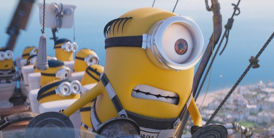 "FILE - This file image released by Illumination and Universal Pictures shows the Minions in a scene from ""Despicable Me 3."" The Minions are still a box office force and original stories are scoring big, but not the R-rated comedy — even with Will Ferrell and Amy Poehler behind it. (Illumination and Universal Pictures via AP)"