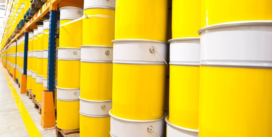 Paint cans in storage