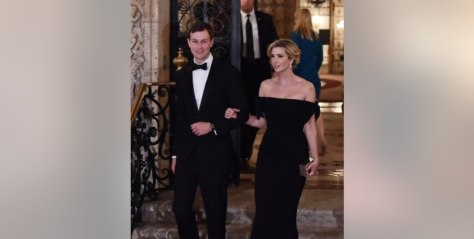 Ivanka Trump (R) and Jared Kushner walk together in the villa of U.S. President Donald Trump in Palm Beach, Florida on Feb.11, 2017. U.S. President Donald Trump had a dinner party and hosted Japan's Prime Minister Shinzo Abe.( The Yomiuri Shimbun via AP Images )