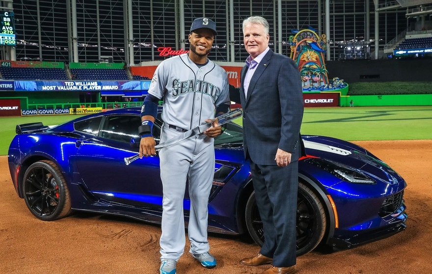 Chevrolet U.S. Vice President Brian Sweeney (right) presents 2017 Ted Williams All-Star Game Most Valuable Player Robinson Cano, of the Seattle Mariners, with a Chevrolet Corvette Grand Sport during the MVP award ceremony Tuesday, July 11, 2015 at Marlins Park in Miami, Florida.