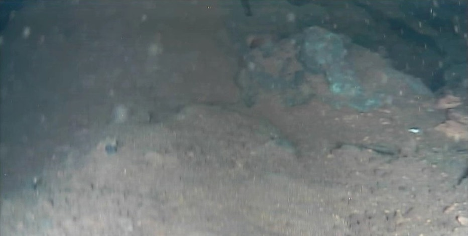 This image captured by an underwater robot provided by International Research Institute for Nuclear Decommissioning on Saturday, July 22, 2017 shows massive deposits believed to be melted nuclear fuel covering the floor of a damaged reactor at Japan's crippled Fukushima nuclear plant in Okuma town, northeastern Japan.