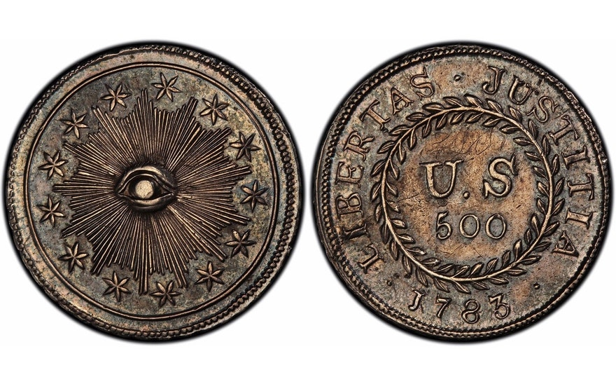 "This image provided by PCGS.com/Professional Coin Grading Service shows the front, left, and back of a 1783 plain obverse Nova Constellatio ""Quint"" silver coin. Authorized by Congress, the coin had a value of 500 units in a proposed but later abandoned early American decimal monetary system that would have ranged from 5 to 1,000 units."