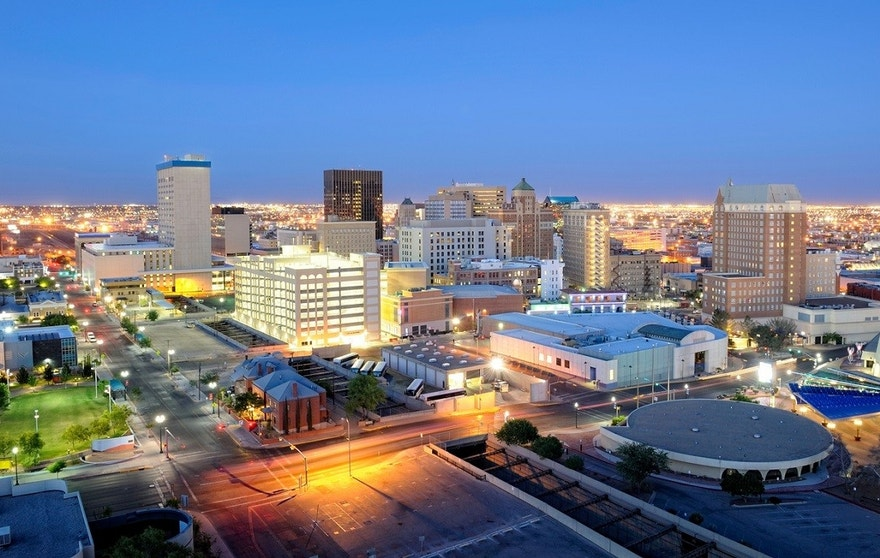 Downtown El Paso Texas skyline seen just after sunset.