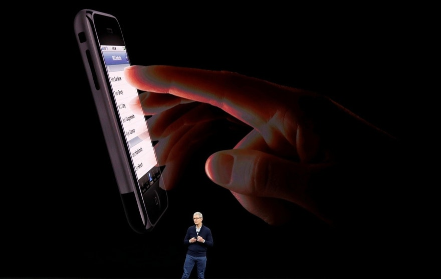 Tim Cook, CEO of Apple, introduces the iPhone 8 during a launch event in Cupertino, California, U.S. September 12, 2017. REUTERS/Stephen Lam