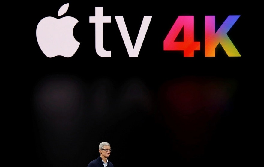 Tim Cook, CEO of Apple, speaks about Apple TV during a launch event in Cupertino, California, U.S. September 12, 2017. REUTERS/Stephen Lam