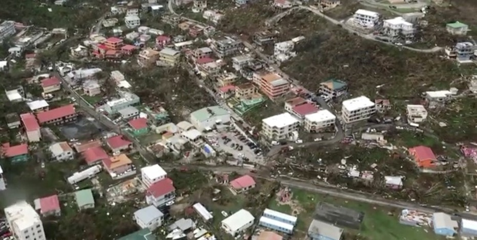 Aerial view of devastation following Hurricane Irma on St. Thomas, U.S. Virgin Islands September 8, 2017, is seen in this still image taken from social media video. Caribbean Buzz Helicopters/via REUTERS