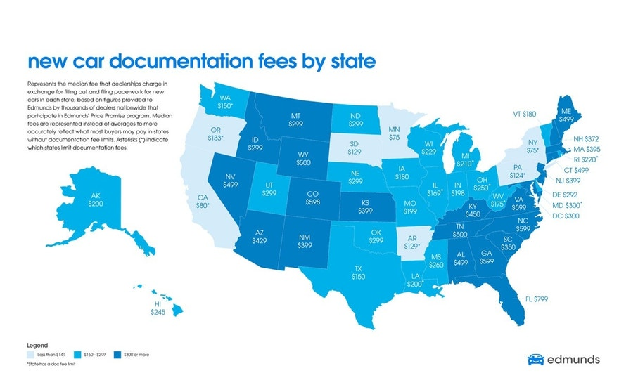 Edmunds map of documentation fees FBN