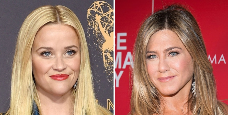 "This combination photo shows actresses Reese Witherspoon at the 69th Primetime Emmy Awards in Los Angeles, left, and Jennifer Aniston at a screening of ""Office Christmas Party"" in New York."