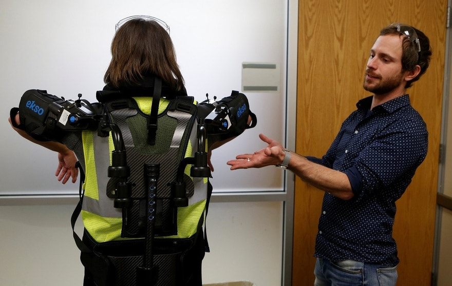 Ford Motor Co ergonomic Marty Smets talks about the exoskeletal technology EksoVest being tested at Wayne Assembly plant in Wayne, Michigan, U.S., November 9, 2017.