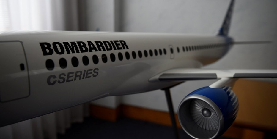 A model of Bombardier C Series aeroplane is seen in the Bombardier offices in Belfast Northern Ireland