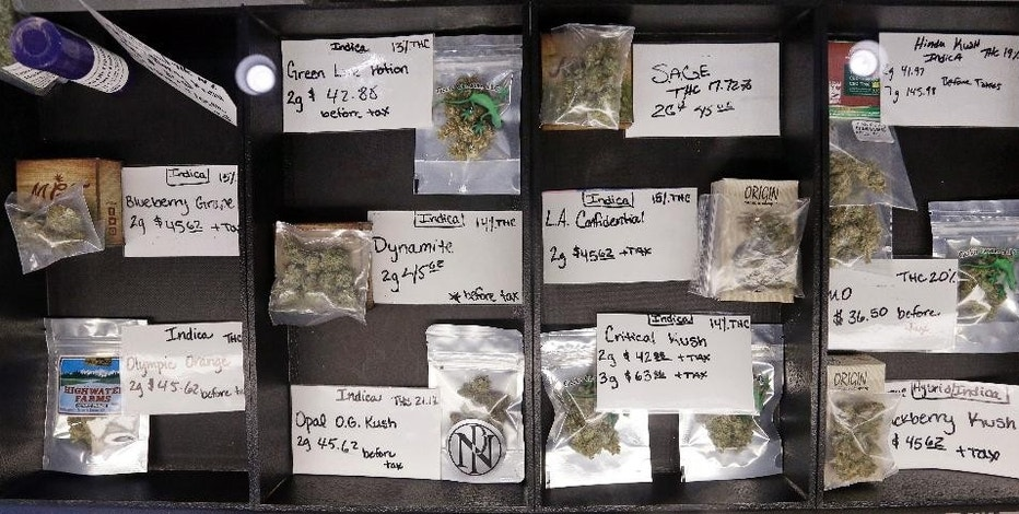 In this Tuesday, Dec. 30, 2014, photo, packaged marijuana is displayed for sale at retail shop Cannabis City in Seattle. A year into the nation's experiment with legal, taxed marijuana sales, Washington and Colorado find themselves with a cautionary tale for Oregon, Alaska or other states that might follow suit: They're wrestling not with the federal interference many initially feared, but with competition from their own medical marijuana systems or even outright black market sales. (AP Photo/Elaine Thompson)