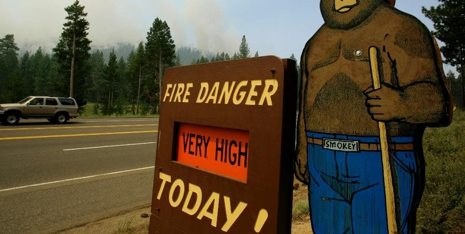 FILE - This June 26, 2007 file photo shows a sign depicting U.S. Forest mascot Smokey Bear on a fire danger sign in South Lake Tahoe, Calif., as smoke from a wildfire rises behind it.  The U.S. Forest Service has abruptly decided not to spend $10 million on a five-year nationwide public relations campaign to brand itself as a public agency that cares about people and nature. The agency was planning on the campaign at a time when it's struggling to pay for fighting wildfires, maintaining trails and offering timber for sale. The decision to drop the campaign came after employees and retirees of the agency sharply criticized it as a waste of money. (AP Photo/Ben Margot, File)