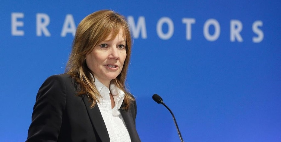 FILE - In this Oct. 1, 2014 file photo, General Motors CEO Mary Barra addresses the Global Business Conference for investors in Milford, Mich. Barra held a roundtable with the press on Thursday, Jan. 8, 2015, as she wraps up a tumultuous first year as the automaker's CEO. (AP Photo/Carlos Osorio, File)