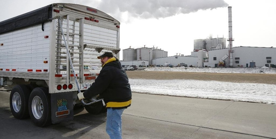 In this photo from Jan. 6, 2015, a grain truck operator prepares his cargo of corn for delivery to the Green Plains ethanol plant in Shenandoah, Iowa. Roughly 100 trucks a day filled with corn flow into this ethanol plant in southwest Iowa even as crude oil prices continue to collapse. Oil prices may have dipped below $50 a barrel for the first time since April 2009, but ethanol plants across the nation continue to operate at a brisk pace in order to satisfy a domestic and export demand that hasn't weakened. (AP Photo/Nati Harnik)