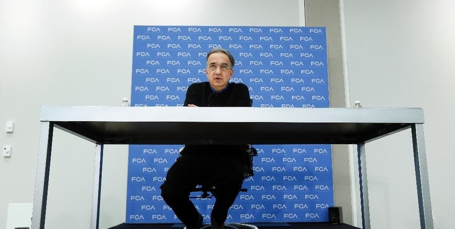 ??Sergio Marchionne, Chief Executive Officer?, Fiat Chrysler Automobiles, speaks at media previews for the North American International Auto Show in Detroit Monday, Jan. 12, 2015. (AP Photo/Paul Sancya)
