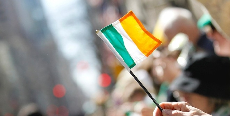 A parade reveller waves an Irish flag during the New York City's 250th annual St. Patrick's Day parade, March 17, 2011.  REUTERS/Brendan McDermid (UNITED STATES - Tags: SOCIETY) - RTR2K0WY