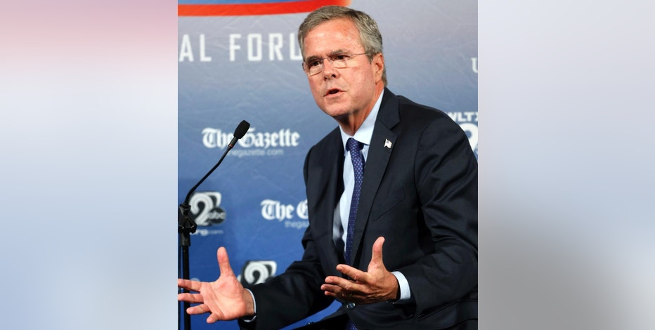 Republican presidential candidate, former Florida Gov. Jeb Bush speaks during a forum Monday, Aug. 3, 2015, in Manchester, N.H. (AP Photo/Jim Cole)