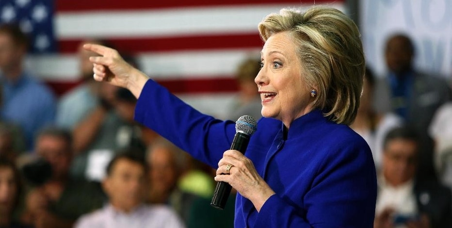 Democratic presidential candidate Hillary Rodham Clinton speaks during a campaign stop at River Valley Community College Tuesday, Aug. 11, 2015, in Claremont, N.H. (AP Photo/Jim Cole)