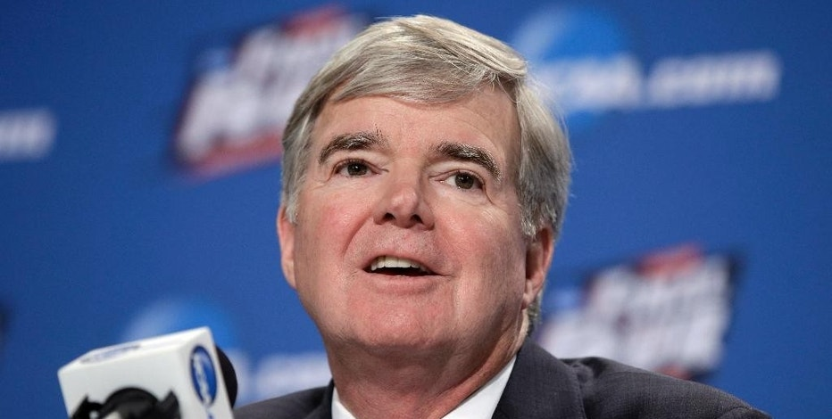 FILE - In this April 2, 2015, file photo, NCAA President Mark Emmert answers questions during a news conference at the Final Four college basketball tournament in Indianapolis. Though blocked from forming their own player unions, lawsuits filed by college athletes are still challenging longstanding NCAA rules capping pay. (AP Photo/Darron Cummings)
