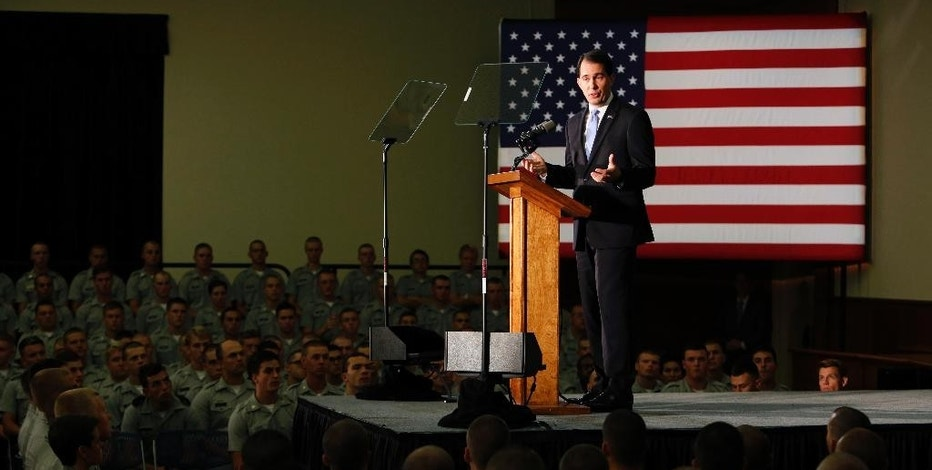 Republican presidential candidate, Wisconsin Gov. Scott Walker, gives a foreign policy speech on the campus of The Citadel, Friday, Aug. 28, 2015, in Charleston, S.C. (AP Photo/Mic Smith)