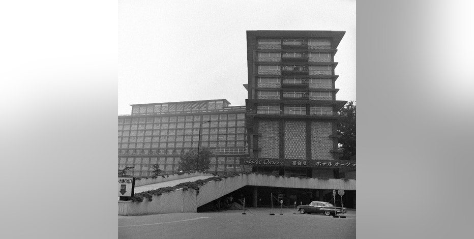FILE - This Sept. 18, 1964, file photo shows a exterior view of Hotel Okura, built in 1962 and located next to U.S. Embassy in Tokyo.  The Hotel Okura, a favored Tokyo lodging for U.S. presidents, movie stars and other celebrities, is closing the doors of its iconic, half-century-old main building on Monday, Aug. 31, 2015, to make way for a pair of glass towers ahead of the 2020 Olympics. (AP Photo/Mitsunori Chigita, File)