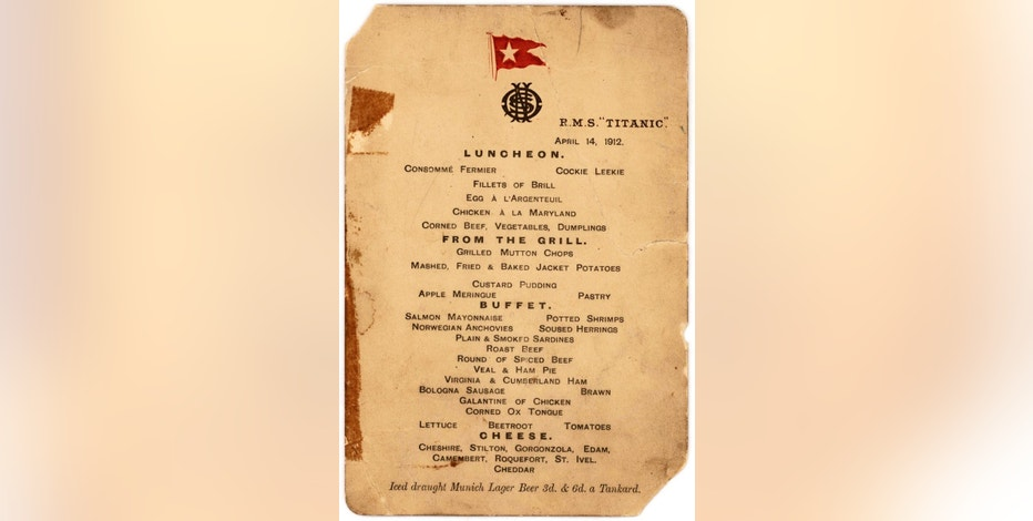 Last Lunch Menu Other Artifacts From Survivors Of Titanic