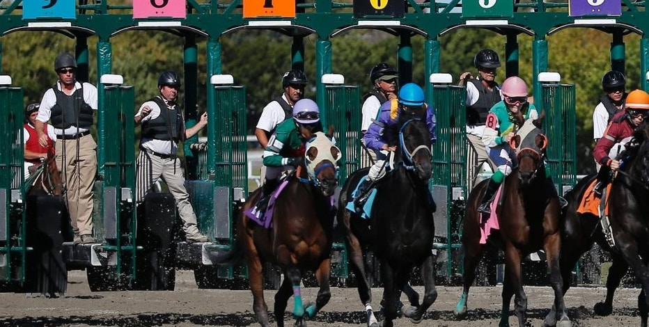 FILE -- In this Sept. 22, 2014 file photo, gate crew members watch the start of a race at Suffolk Downs in Boston, as the last thoroughbred horse racing track in New England was set to close at the end of the racing season. Horse racing is to return to the track Saturday, Sept. 5, 2015, on a limited basis. Of the 40 states with legalized gambling, 20, including Massachusetts, funnel a slice of revenues from casinos and slots parlors to prop up a largely dying industry: horse racing. (AP Photo/Elise Amendola, File)
