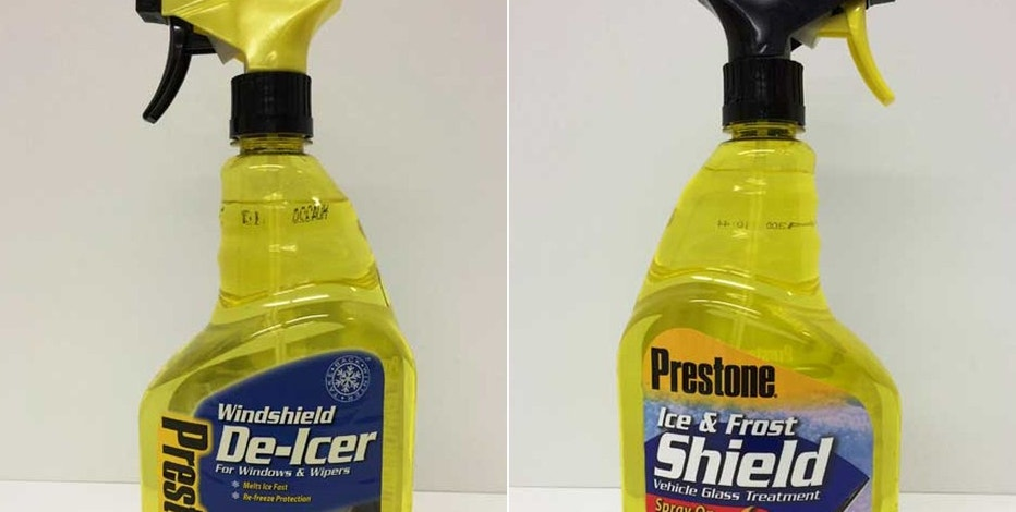 This combination of images provided by the Consumer Product Safety Commission shows Preston Windshield De-Icer, left, and Prestone Ice & Frost Shield. The products are being recalled because the trigger spray assembly can be removed from their containers. The product contains methanol and ethylene glycol. Children may gain access to the product by removing the trigger assembly, posing a risk of poisoning. (CSPC via AP)